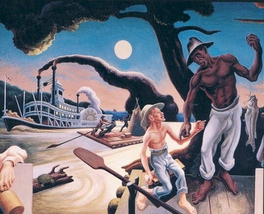 1936 Thomas Hart Benton (American regionalist artist, 1889–1975) A Social History of the State of Missouri Huckleberry Finn